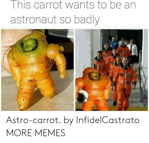 carrot: I nis carrot wants to be an  astronaut so badly Astro-carrot. by InfidelCastrato MORE MEMES