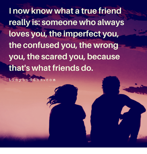 Confused, Friends, and True: I now know what a true friend  really is: someone who always  loves you, the imperfect you,  the confused you, the wrong  you, the scared you, because  that's what friends do.  tinybuddha  .com