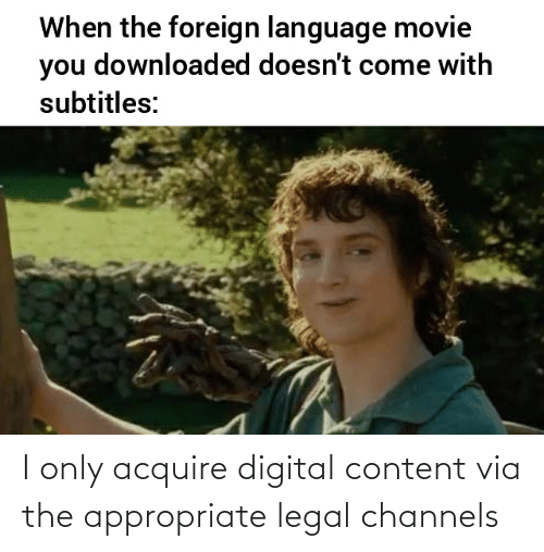 acquire: I only acquire digital content via the appropriate legal channels