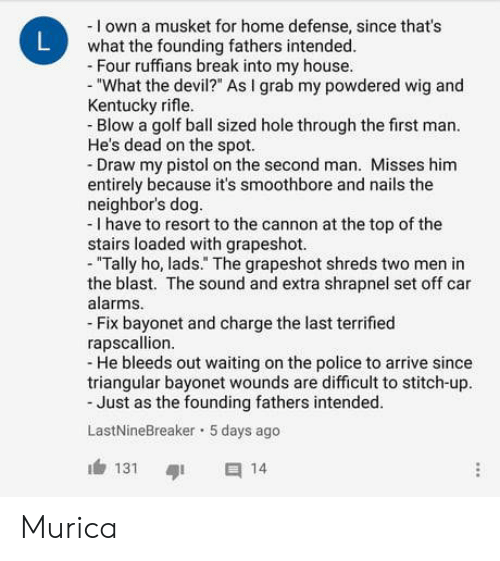 """My House, Police, and Devil: - I own a musket for home defense, since that's  what the founding fathers intended.  Four ruffians break into my house.  """"What the devil?"""" As I grab my powdered wig and  Kentucky rifle.  Blow a golf ball sized hole through the first man.  He's dead on the spot.  Draw my pistol on the second man. Misses him  entirely because it's smoothbore and nails the  neighbor's dog.  - I have to resort to the cannon at the top of the  stairs loaded with grapeshot.  - """"Tally ho, lads."""" The grapeshot shreds two men in  the blast. The sound and extra shrapnel set off car  alarms.  Fix bayonet and charge the last terrified  rapscallion  - He bleeds out waiting on the police to arrive since  triangular bayonet wounds are difficult to stitch-up.  Just as the founding fathers intended.  LastNineBreaker 5 days ago  131 14 Murica"""