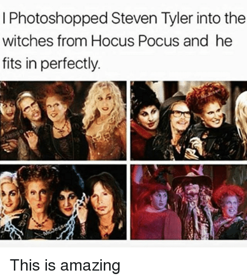 Steven Tyler: I Photoshopped Steven Tyler into the  witches from Hocus Pocus and he  fits in perfectly. This is amazing