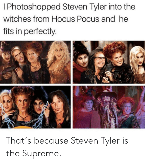 photoshopped: I Photoshopped Steven Tyler into the  witches from Hocus Pocus and he  fits in perfectly.  Esaro  McJess That's because Steven Tyler is the Supreme.