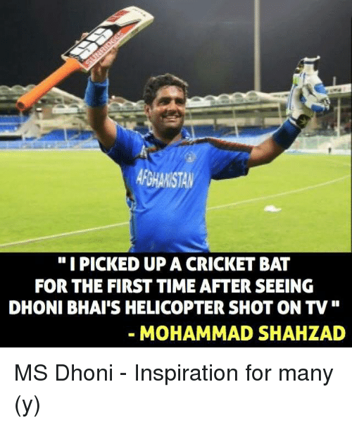 """cricket bat: """"I PICKED UP A CRICKET BAT  DHONI BHAI'S HELICOPTER SHOT ON TV  MOHAMMAD SHAH LAD MS Dhoni - Inspiration for many (y)"""
