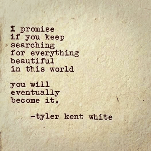 Beautiful, White, and World: I promise  if you keep  searching  for everything  beautiful  in this world  you will  eventually  become it.  -tyler kent white