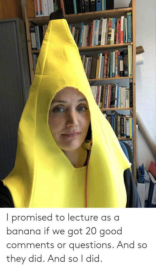 Promised: I promised to lecture as a banana if we got 20 good comments or questions. And so they did. And so I did.