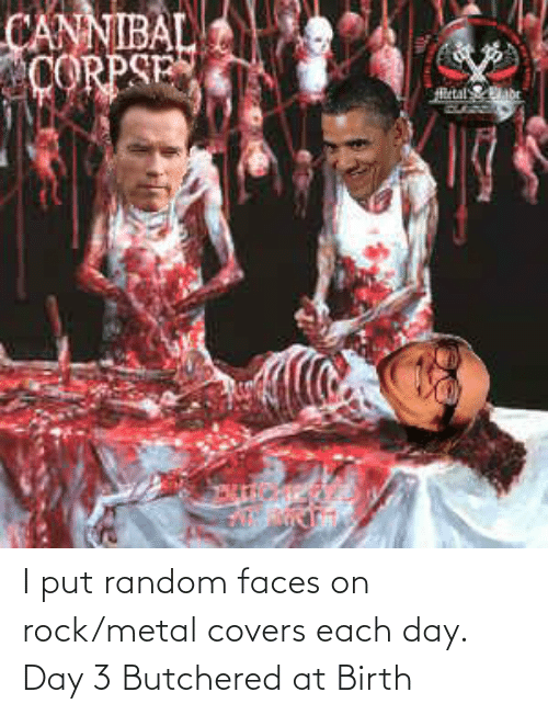 birth: I put random faces on rock/metal covers each day. Day 3 Butchered at Birth
