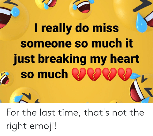 Miss Someone: I really do miss  someone so much it  just breaking my heart  so much  7 For the last time, that's not the right emoji!