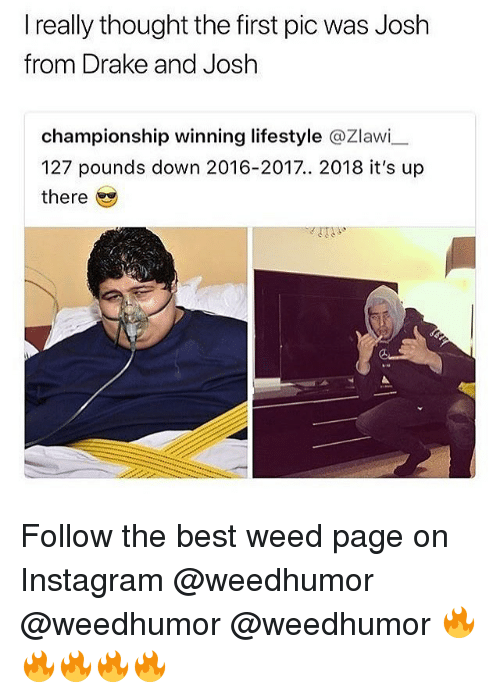 Drake, Instagram, and Memes: I really thought the first pic was Josh  from Drake and Josh  championship winning lifestyle @Zlawi  127 pounds down 2016-2017.. 2018 it's up  there Follow the best weed page on Instagram @weedhumor @weedhumor @weedhumor 🔥🔥🔥🔥🔥