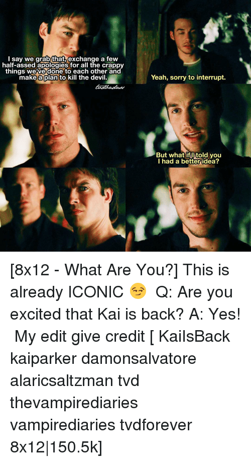 Excition: I say we grab that  exchange a few  half-assed apologies for all the crappy  things we ve done to each other and  make a plan to kill the devil.  Yeah, sorry to interrupt.  But what if itold you  I had a better idea? [8x12 - What Are You?] This is already ICONIC 😏 ⠀ Q: Are you excited that Kai is back? A: Yes! ⠀ My edit give credit [ KaiIsBack kaiparker damonsalvatore alaricsaltzman tvd thevampirediaries vampirediaries tvdforever 8x12|150.5k]