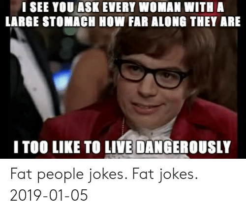 Fat People Jokes: I SEE YOU ASK EVERY WOMAN WITH A  LARGE STOMACH HOW FAR ALONG THEY ARE  I TOO LIKE TO LIVE DANGEROUSLY Fat people jokes. Fat jokes. 2019-01-05
