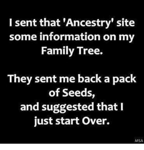 Msã±: I sent that 'Ancestry' site  some information on my  Family Tree.  They sent me back a pack  of Seeds  and suggested that I  just start over.  MSA