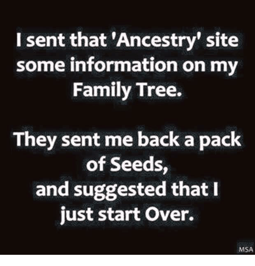 Msã±: I sent that 'Ancestry site  some information on my  Family Tree.  They sent me back a pack  of Seeds  and suggested that I  just start over.  MSA