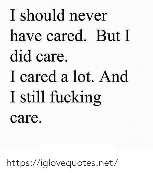 Fucking, Never, and Net: I should never  have cared. But I  did care  I cared a lot. And  I still fucking  care https://iglovequotes.net/