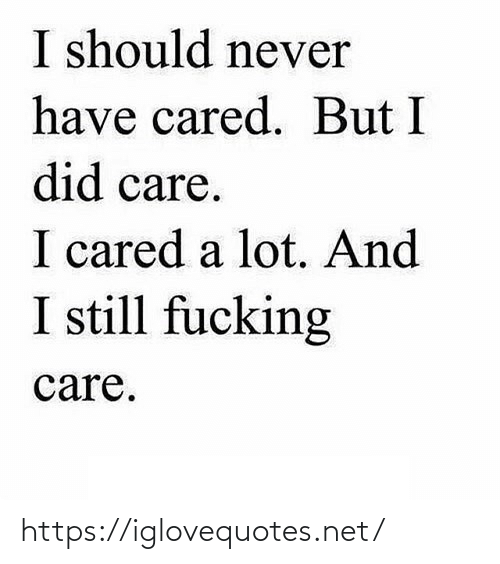 I Should: I should never  have cared. But I  did care.  I cared a lot. And  I still fucking  care. https://iglovequotes.net/