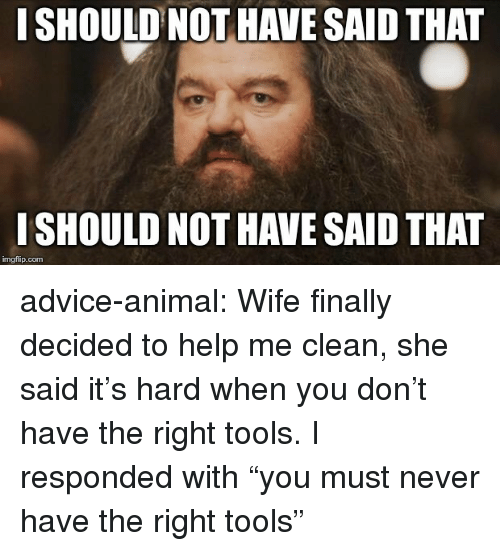 "Advice, Tumblr, and Animal: I SHOULD NOT HAVE SAID THAT  I SHOULD NOT HAVE SAID THAT  imgflip.com advice-animal:  Wife finally decided to help me clean, she said it's hard when you don't have the right tools. I responded with ""you must never have the right tools"""