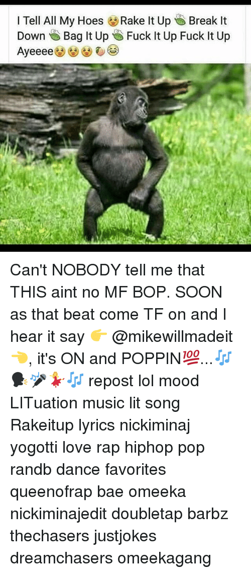 Dreamchasers: I Tell All My Hoes Rake It Up Break It  Down Bag lt Up te)i Fuck It Up Fuck It Up Can't NOBODY tell me that THIS aint no MF BOP. SOON as that beat come TF on and I hear it say 👉 @mikewillmadeit 👈, it's ON and POPPIN💯...🎶🗣🎤💃🎶 repost lol mood LITuation music lit song Rakeitup lyrics nickiminaj yogotti love rap hiphop pop randb dance favorites queenofrap bae omeeka nickiminajedit doubletap barbz thechasers justjokes dreamchasers omeekagang