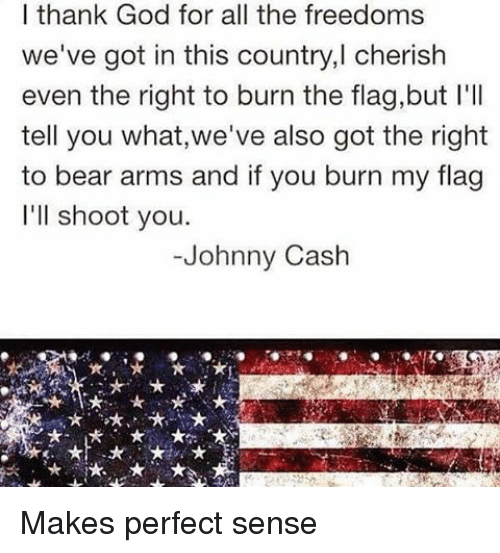 Johnnies: I thank God for all the freedoms  we've got in this country,l cherish  even the right to burn the flag,but l'll  tell you what,we've also got the right  to bear arms and if you burn my flag  I'll shoot you.  Johnny Cash Makes perfect sense