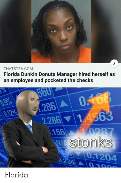 Donuts: i  THATSTEA.COM  Florida Dunkin Donuts Manager hired herself as  an employee and pocketed the checks  560  .9%  0.12%  0168  286  2.286 14563  156 0287  WA Stonks  02  70.1204  0.234  660  0.1000 Florida