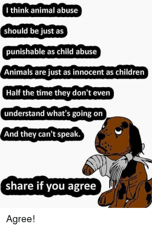 Animal Abuse: I think animal abuse  should be just as  punishable as child abuse  Animals are just as innocent as children  Half the time they don't even  understand what's going on  And they can't speak.  share if you agree Agree!