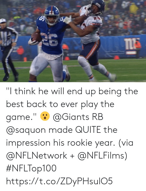 """Memes, The Game, and Best: """"I think he will end up being the best back to ever play the game."""" 😮  @Giants RB @saquon made QUITE the impression his rookie year. (via @NFLNetwork + @NFLFilms) #NFLTop100 https://t.co/ZDyPHsulO5"""