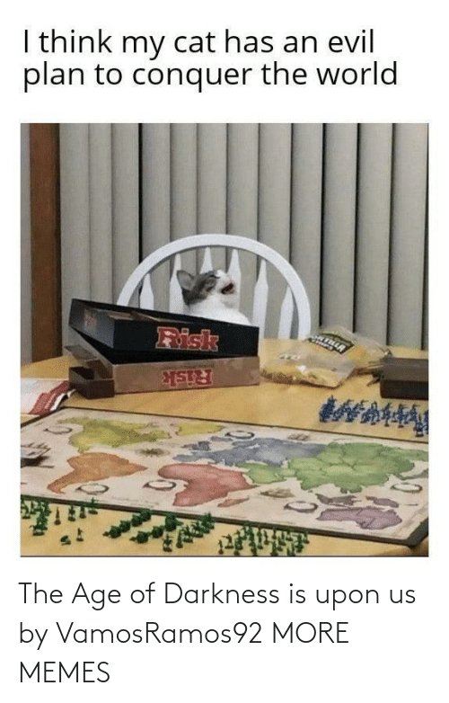 risk: I think my cat has an evil  plan to conquer the world  Risk  Risk The Age of Darkness is upon us by VamosRamos92 MORE MEMES
