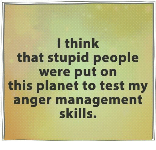 Dank, Test, and Anger Management: I think  that stupid people  were put on  this planet to test my  anger management  skills.