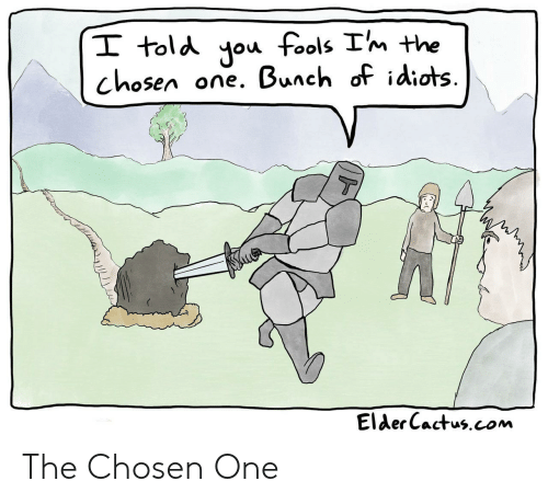 the chosen one: I told you fools Im the  one. Bunch of idiots  chosen  T  Elder Cactus.com The Chosen One