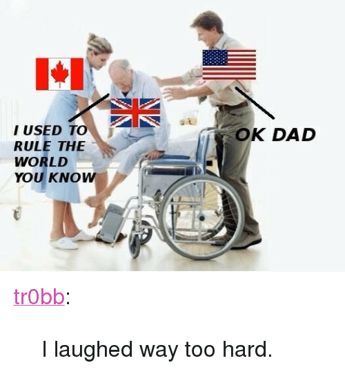 """I Used To Rule The World: I USED TO  RULE THE  WORLD  YOU KNOW  OK DAD <p><a class=""""tumblr_blog"""" href=""""http://tr0bb.tumblr.com/post/76478222414/i-laughed-way-too-hard"""" target=""""_blank"""">tr0bb</a>:</p>  <blockquote> <p>I laughed way too hard.</p> </blockquote>"""