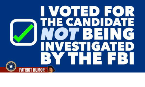 Fbi, Memes, and Patriotic: I VOTED FOR  THE CANDIDATE  NOT BEING  INVESTIGATED  BY THE FBI  PATRIOT HUMOR