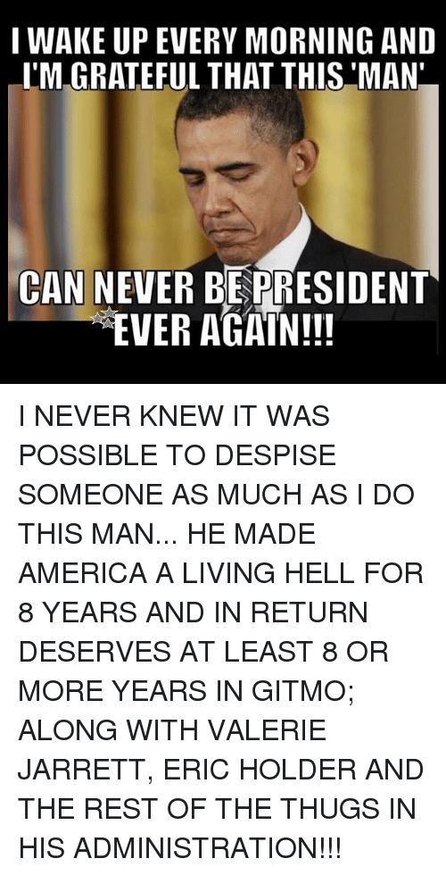 thugs: I WAKE UP EVERY MORNING AND  I'M GRATEFUL THAT THIS MAN  CAN NEVER BEPRESIDENT  EVER AGAIN!!! I NEVER KNEW IT WAS POSSIBLE TO DESPISE SOMEONE AS MUCH AS I DO THIS MAN... HE MADE AMERICA A LIVING HELL FOR 8 YEARS AND IN RETURN DESERVES AT LEAST 8 OR MORE YEARS IN GITMO; ALONG WITH VALERIE JARRETT, ERIC HOLDER AND THE REST OF THE THUGS IN HIS ADMINISTRATION!!!