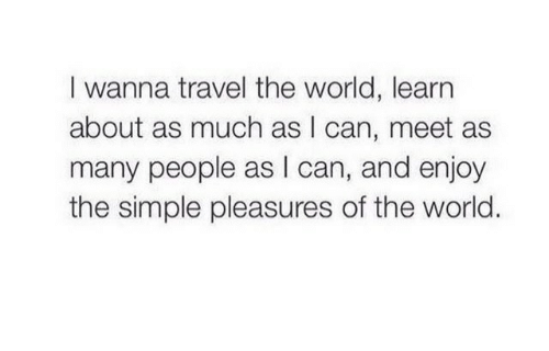 Travel, World, and Simple: I wanna travel the world, learn  about as much as I can, meet as  many people as I can, and enjoy  the simple pleasures of the world.