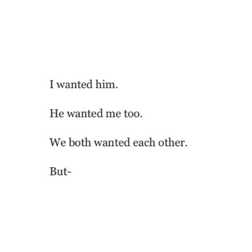 Wanted, Him, and Me Too: I wanted him  He wanted me too.  We both wanted each other.  But
