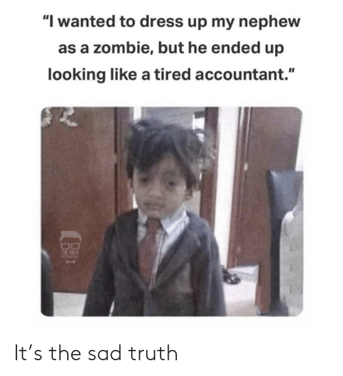 "Ended: ""I wanted to dress up my nephew  as a zombie, but he ended up  looking like a tired accountant.""  THE BIG 4 It's the sad truth"