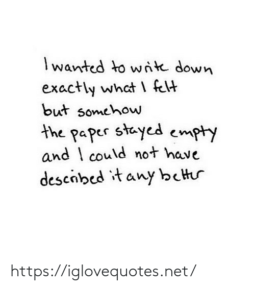 exactly: I wanted to write down  exactly what I felt  but somehow  the paper stayed empty  and I could not have  descibed it any better https://iglovequotes.net/