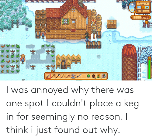 seemingly: I was annoyed why there was one spot I couldn't place a keg in for seemingly no reason. I think i just found out why.