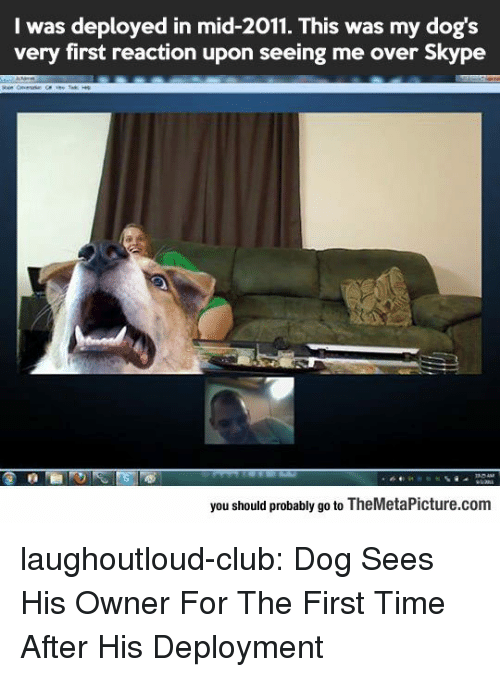 Deployment: I was deployed in mid-2011. This was my dog's  very first reaction upon seeing me over Skype  you should probably go to TheMetaPicture.com laughoutloud-club:  Dog Sees His Owner For The First Time After His Deployment