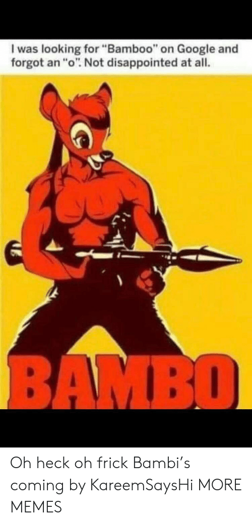 """Bambi: I was looking for """"Bamboo"""" on Google and  forgot an """"o"""". Not disappointed at all.  BAMBO Oh heck oh frick Bambi's coming by KareemSaysHi MORE MEMES"""