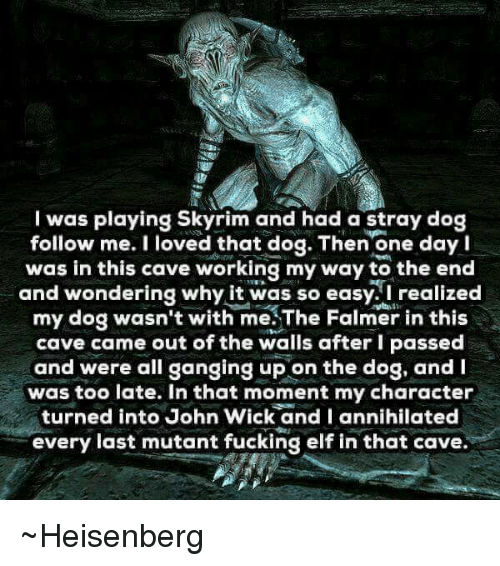heisenberg: I was playing Skyrim and had a stray dog  follow me. I loved that dog. Then one day I  was in this cave working my way to the end  and wondering why it was so easy. I realized  my dog wasn't with me.The Falmer in this  cave came out of the walls after I passed  and were all ganging up on the dog, and  was too late. In that moment my character  turned into John Wick and I annihilated  every last mutant fucking elf in that cave ~Heisenberg