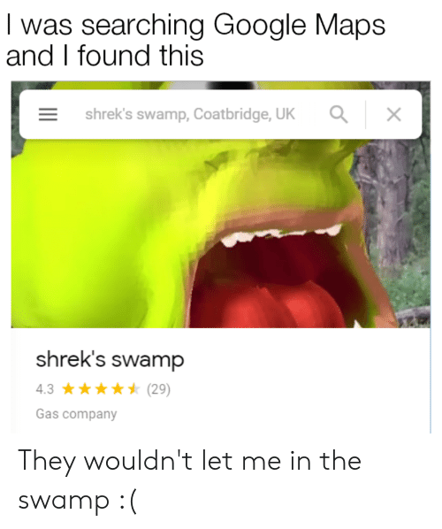 I Was Searching Google Maps and I Found This Shrek's Swamp
