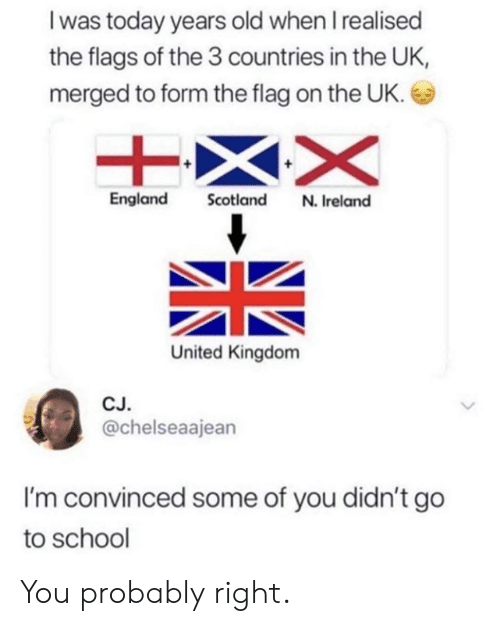 Scotland: I was today years old when I realised  the flags of the 3 countries in the UK,  merged to form the flag on the UK.  England Scotland N. Ireland  United Kingdom  CJ  @chelseaajean  I'm convinced some of you didn't go  to school You probably right.