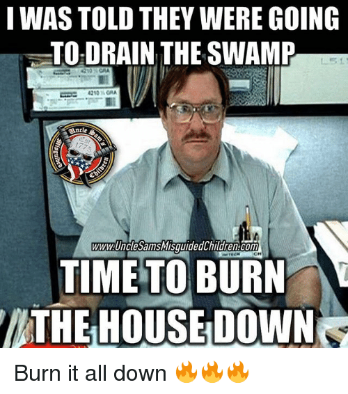 drain-the-swamp: I WAS TOLD THEY WERE GOING  TO DRAIN THE SWAMP  4210 MORA  WWW UnclesamSMISquided hildren Conn  TIME TO BURN  THE HOUSE DOWN Burn it all down 🔥🔥🔥