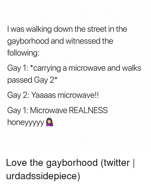 realness: I was walking down the street in the  gayborhood and witnessed the  following:  Gay 1: *carrying a microwave and walks  passed Gay 2*  Gay 2: Yaaaas microwave!!  Gay 1: Microwave REALNESS  honeyyyyy S Love the gayborhood (twitter | urdadssidepiece)