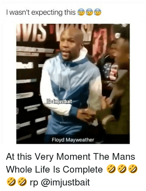 Floyd Mayweather, Life, and Mayweather: I wasn't expecting this  IG Bimjustbait  Floyd Mayweather At this Very Moment The Mans Whole Life Is Complete 🤣🤣🤣🤣🤣 rp @imjustbait