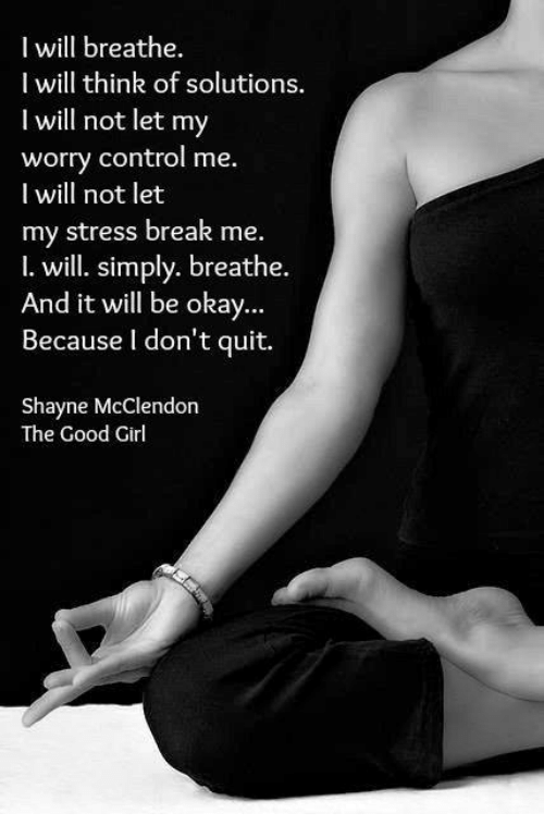 The Good Girl: I will breathe.  I will think of solutions.  will not let my  worry control me.  I will not let  my stress break me.  I. will. simply. breathe.  And it will be okay  Because don't quit.  Shayne McClendon  The Good Girl