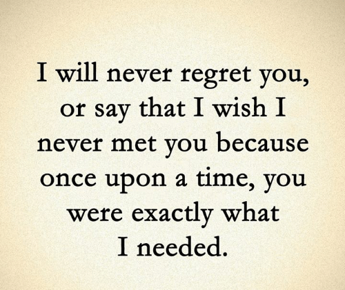 Memes, Regret, and Once Upon a Time: I will never regret you,  or say that I wish I  never met you because  once upon a time, you  were exactly what  I needed.