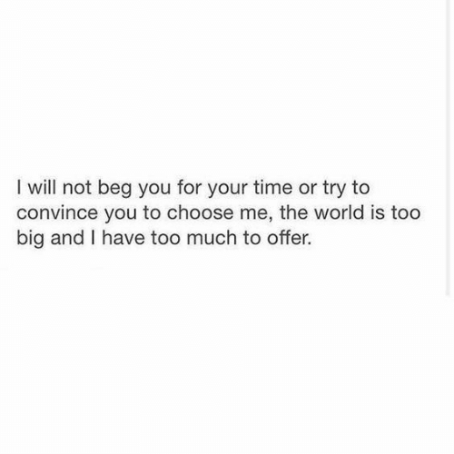 Too Much, Time, and World: I will not beg you for your time or  try to  convince you to choose me, the world is too  big and I have too much to offer.