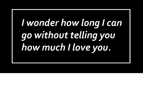 Love, Wonder, and How: I wonder how long I can  go without telling you  how much I love vou.