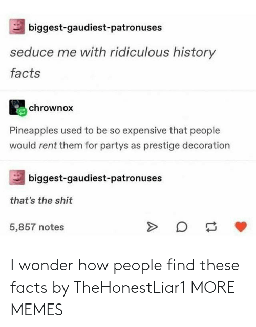 i wonder: I wonder how people find these facts by TheHonestLiar1 MORE MEMES