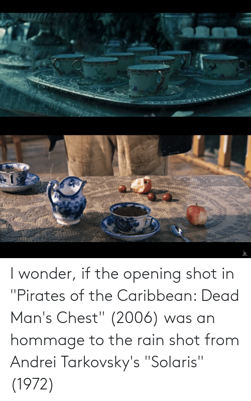 """pirates of the caribbean: I wonder, if the opening shot in """"Pirates of the Caribbean: Dead Man's Chest"""" (2006) was an hommage to the rain shot from Andrei Tarkovsky's """"Solaris"""" (1972)"""