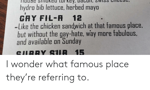 place: I wonder what famous place they're referring to.